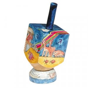 Hand Painted Wood Dreidel on Stand with Noah's Ark Images Small - Yair Emanuel