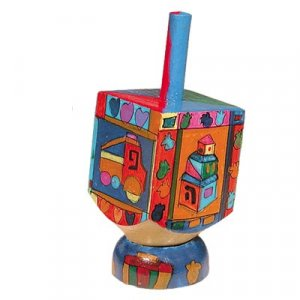 Hand Painted Wood Dreidel on Stand with Childrens Images Small - Yair Emanuel