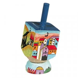 Hand Painted Wood Dreidel on Stand with Jerusalem Images Small - Yair Emanuel