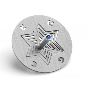 Anodized Aluminum Hanukkah Dreidel and Stand Star of David, Gray - Adi Sidler