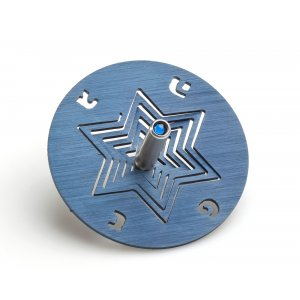 Anodized Aluminum Hanukkah Dreidel and Stand Star of David, Blue - Adi Sidler