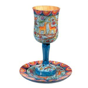 Hand Painted Large Wood Kiddush Cup with Coaster, Jerusalem Scenes - Yair Emanuel