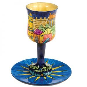Hand Painted Wood Stem Kiddush Cup and Plate, Jerusalem View - Yair Emanuel