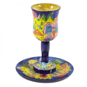 Hand Painted Wood Stem Kiddush Cup and Plate, Golden Jerusalem - Yair Emanuel