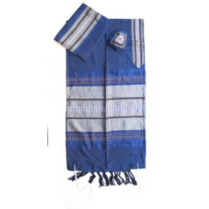 Handwoven Silk Royal Blue with Silver Stripes Prayer Shawl Set - Gabrieli