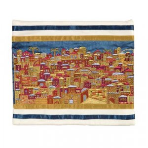 Tallit Bag Embroidered with Panoramic Jerusalem, Gold - Yair Emanuel