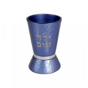 Boys Yeled Tov Good Boy Small Blue Kiddush Cup with Silver Band - Yair Emanuel