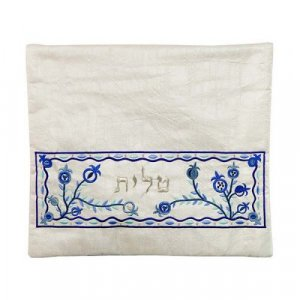 Embroidered Tallit and Tefillin Bags, Blue Pomegranates on Off White - Yair Emanuel