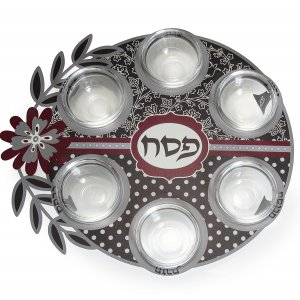 Flower Design Laser Cut Seder Plate with Glass Bowls - Dorit Judaica