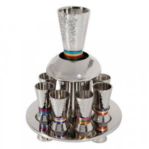 Hammered Nickel Kiddush Fountain on Tray with Eight Cups, Multicolored - Yair Emanuel