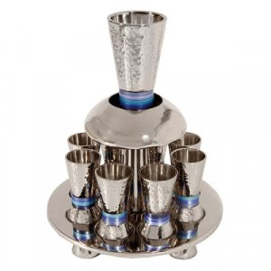Kiddush Fountain with Goblet, Cups & Tray, Blue Rings - Yair Emanuel