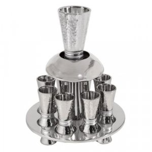 Hammered Nickel Kiddush Fountain on Tray with 8 Cups, Silver Rings - Yair Emanuel