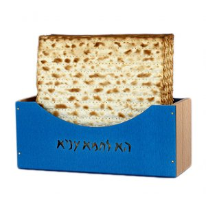 Upright Matzah Holder Aluminum and Beechwood, Blue - Shraga Landesman