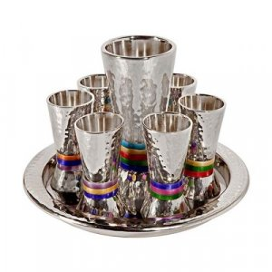 Hammered Nickel Kiddush Goblet and Six Cups with Tray, Multicolor - Yair Emanuel