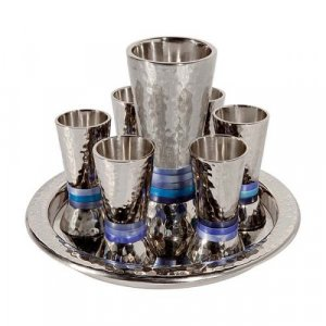 Hammered Nickel Kiddush Goblet and Six Cups with Tray, Blue - Yair Emanuel