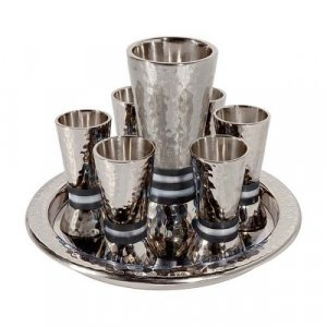 Hammered Nickel Kiddush Goblet and Six Cups with Tray, Black Bands - Yair Emanuel