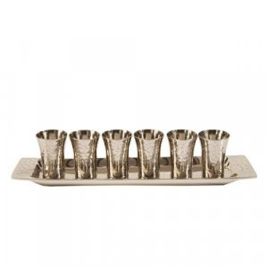 Six Hammered Nickel Kiddush Cups and Tray, Silver Color - Yair Emanuel