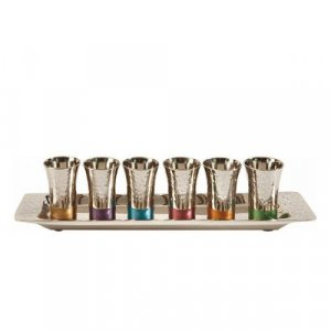 Six Hammered Nickel Kiddush Cups and Tray, Multicolor - Yair Emanuel