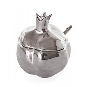 Pomegranate Honey Dish in Silver Ceramic