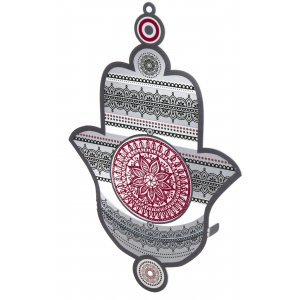 Wall Hamsa with Red and Gray Mandala Design by Dorit Judaica