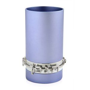 Light Blue Anodized Aluminum Blessing Kiddush Cup by Benny Dabbah