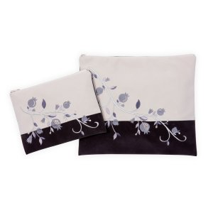 Impala Tallit Bag Set Off-White and Gray, Embroidery Silver Pomegranates - Ronit Gur
