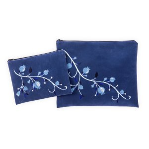Impala Tallit and Tefillin Bag Blue, Embroidered Blue Pomegranates - Ronit Gur