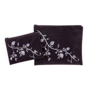 Impala Tallit Bag Set Gray, Embroidered Shades-of-Gray Pomegranates - Ronit Gur