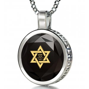 Black Silver Star of David Necklace with Shema Yisrael Prayer by Nano Jewelry