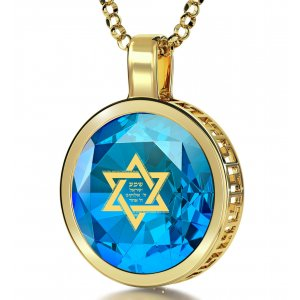 Blue Shema Star of David Goldfilled Pendant By Nano Jewelry