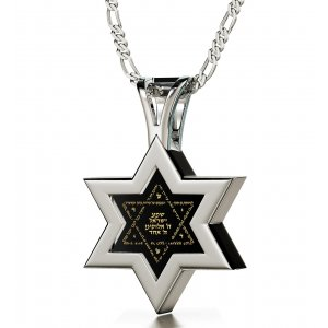 Silver Star of David Necklace with Shema Prayer By Nano Jewelry