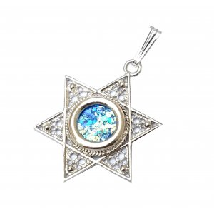 Roman Glass and Filigree Star of David Sterling Silver Pendant Necklace