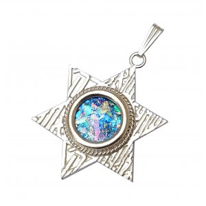 Star of David Filigree Sterling Silver Shema Pendant Necklace with Roman Glass