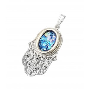 Scrolling Filigree Sterling Silver Hamsa Pendant Necklace with Roman Glass