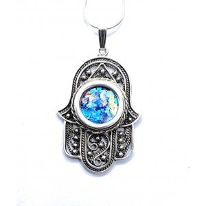 Roman Glass Sterling Silver Hamsa Pendant Necklace with Beaded Filigree