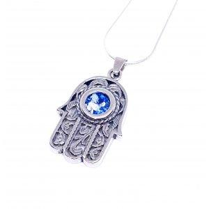 Sterling Silver Hamsa Pendant Necklace with Roman Glass and Curving Filigree