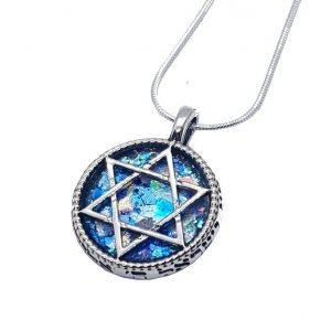 Roman Glass Filigree 925 Sterling Silver Necklace with Star of David