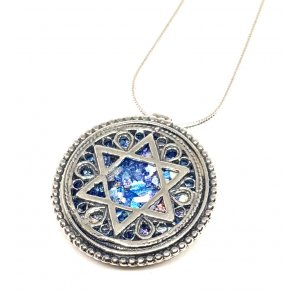 Filigree 925 Sterling Silver Roman Glass Necklace with Star of David