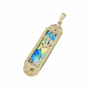 14K Gold Mezuzah Shape Pendant - Filigree Design and Roman Glass Center