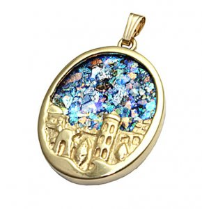 14K Gold Oval Pendant with Sculpted Jerusalem Image and Roman Glass