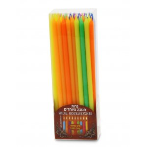 Hanukkah Extra Long Colorful Candles for Menorah Lighting