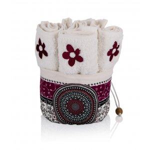 Six Flower Hand Washing Towels in Maroon Mandala Decorated Holder - Dorit Judaica