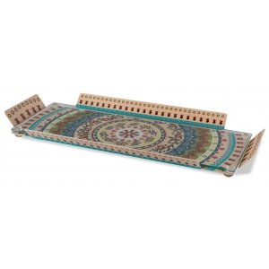 Serving Tray with Glass Top, Colorful Pomegranates & Mandala - Dorit Judaica