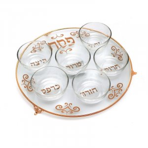 Raised Glass Seder Plate with Bowls – Gold Decorative Elements