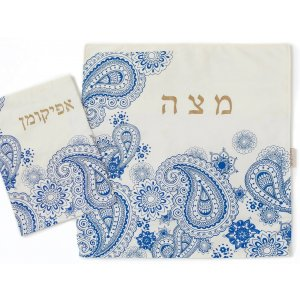 Blue Paisley Design Matzah Cover and Afikoman Bag Set - Barbara Shaw