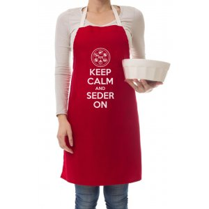 Pesach Apron, Keep Calm and Seder On, Deep Burgundy - Barbara Shaw
