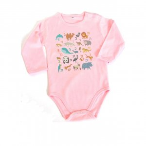 Long Sleeve Pink or Blue Baby Onesie, Hebrew Alphabet Alef Bet - Barbara Shaw