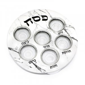 Passover Pesach Plate for Seder, Glass Bowls - White with Gray Marble Design