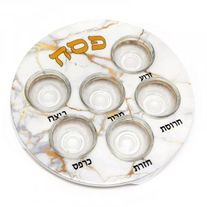 Passover Pesach Plate for Seder, Glass Bowls - White with Gold Marble Design