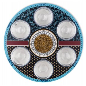 Circular Seder Plate with Six Glass Bowls, Turquoise and Mustard - Dorit Judaica